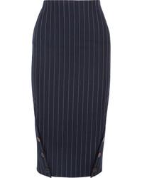 Falda lápiz de lana de rayas verticales azul marino de Victoria Beckham