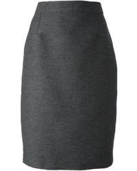 Falda Lápiz de Lana Gris Oscuro de Lanvin