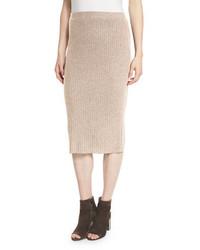 Falda lápiz de lana marrón claro