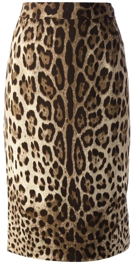 Falda Lápiz de Leopardo Marrón Claro de Dolce   Gabbana  dónde ... 9f96c3dc9b02