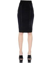Falda lápiz de malla negra de Versace