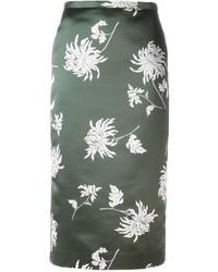 Falda lápiz de seda estampada verde oliva de Rochas