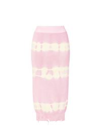 Falda lápiz efecto teñido anudado rosada de MSGM