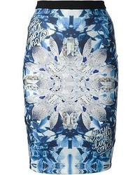 Falda lápiz estampada en blanco y azul de Philipp Plein
