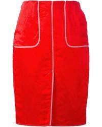 Falda lápiz roja de Lanvin