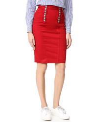 Falda Lápiz Vaquera Roja de Dsquared2