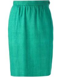 Falda lápiz verde de Saint Laurent