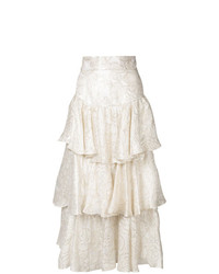 Falda larga con print de flores blanca de Bambah