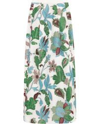 Falda larga con print de flores blanca de Tory Burch