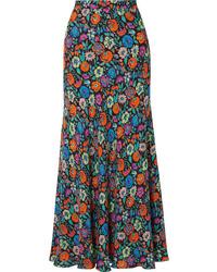 Falda larga con print de flores en multicolor