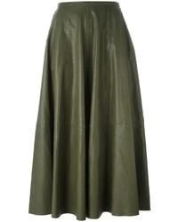 Falda larga de cuero verde oliva de MM6 MAISON MARGIELA