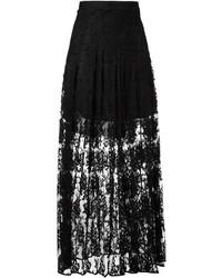 Falda larga de encaje negra de Chloé