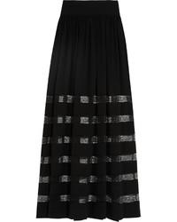 Falda larga de encaje negra de Michael Kors