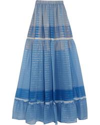 Falda larga de gasa estampada azul de Stella McCartney