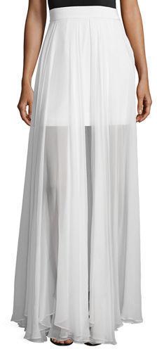 información para dc8da a8ea4 $650, Falda larga de gasa plisada blanca de Milly