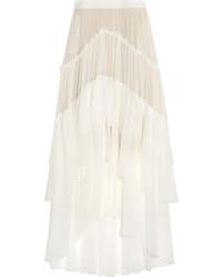 Falda larga de seda blanca de Chloé
