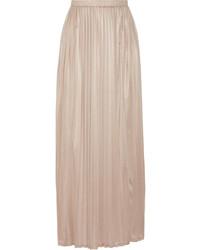 Falda larga plisada marrón claro
