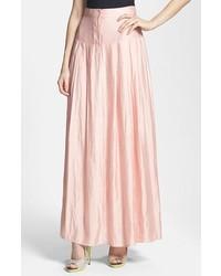 Falda larga plisada rosada