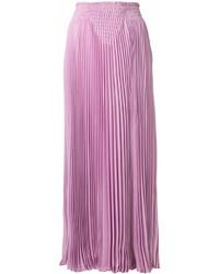 Falda larga plisada rosada de Valentino