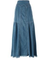 Falda larga vaquera azul de Chloé