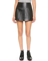 Falda línea a de cuero negra de Alexander Wang
