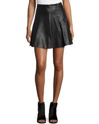 Falda línea a de cuero negra de Rag & Bone