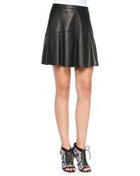 Falda línea a de cuero negra de Rebecca Minkoff