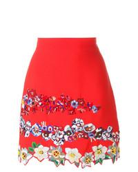 Falda Línea A de Flores Roja de MSGM