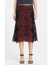 Falda midi bordada burdeos de Marc Jacobs