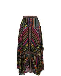 Falda midi bordada negra de Etro