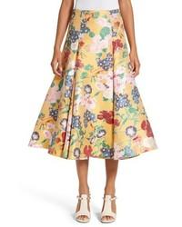 Falda midi con print de flores amarilla de Valentino