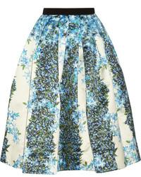 Falda midi con print de flores en beige de Tibi