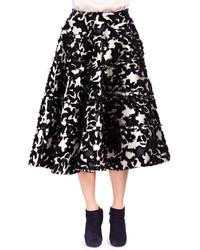Falda midi con print de flores en negro y blanco de Lanvin