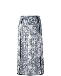 Falda midi con print de flores en negro y blanco de Marco De Vincenzo