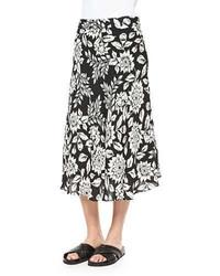 Falda midi con print de flores en negro y blanco de Theory