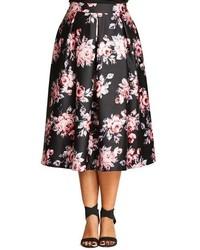 Falda midi con print de flores negra de City Chic
