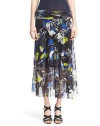 Falda midi con print de flores negra de Fuzzi