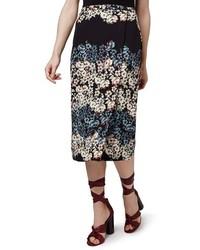 Falda midi con print de flores negra de Topshop