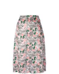 Falda midi con print de flores rosada