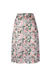 Falda midi con print de flores rosada de JULIEN DAVID