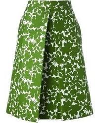 Falda midi con print de flores verde de Michael Kors