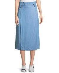 Falda midi con recorte celeste