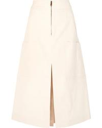 Falda midi con recorte en beige