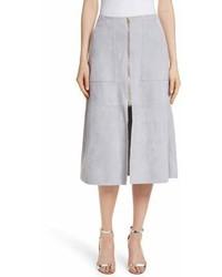 Falda midi con recorte gris