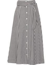 Falda midi de cuadro vichy en negro y blanco