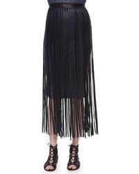 Falda midi de cuero сon flecos negra de Elie Tahari