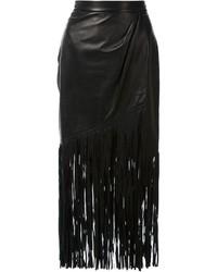 Falda midi de cuero сon flecos negra