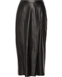 Falda midi de cuero plisada negra de ADAM by Adam Lippes