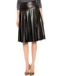 Falda midi de cuero plisada negra de DKNY