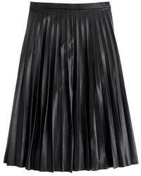 Falda midi de cuero plisada negra de J.Crew